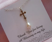 Silver Cross Necklace, Gifts for Best Friends, Blessings, Cross and Pearl Necklace, Spiritual Jewelry, Christmas Gift, Gift for Mom