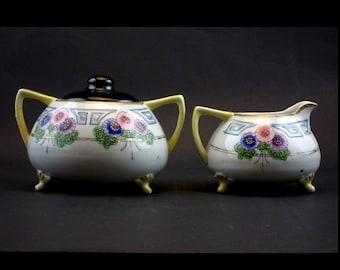 BiBi Nippon Hand Painted Cream and Sugar Set with Moriage - True Antique Nippon China ca. 1900
