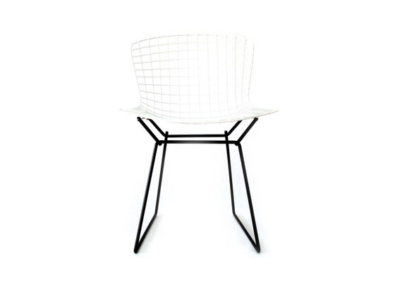 Bertoia classic white on black knoll side chair restoration by