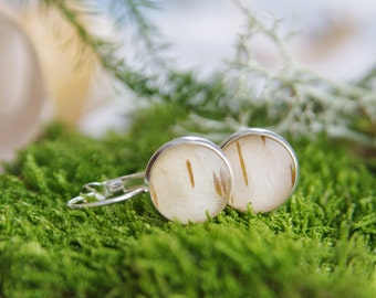 Birch Bark Earrings - woodland resin earrings with bark from the forest - Downy Birch