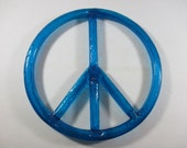 60s Blue Lucite Peace Sign Wall Art Peace Sign Decor Boho Hippie Decor