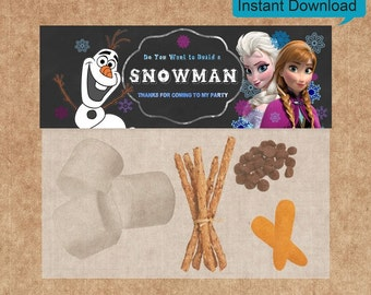 Disney Frozen Favor Bag Toppers  - INSTANT DOWNLOAD -  Elsa, Anna, Olaf - Do You Want to Build a Snowman Frozen Favor Bag Toppers