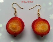 RED & YELLOW FELT Earrings with red crystal beads, 3 circles, hand dyed and hand felted merino wool