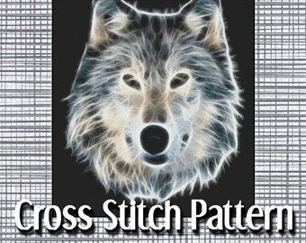 Fractal Wolf Cross Stitch Pattern Beautiful Design Digital Art Like Pounce Instant Download PdF Modern Design