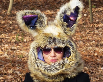 Galaxy Bunny Scoodie with wired ears ~ You choose which animal style: Fox, Wolf or Bunny!