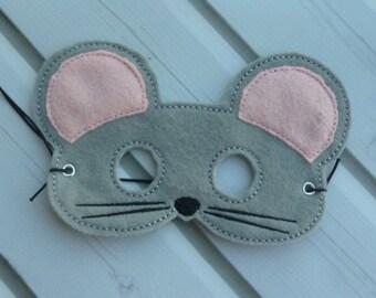 Felt Grey Mouse Mask
