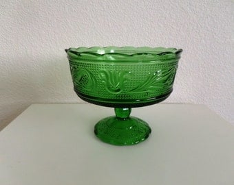 Vintage Green Glass Goblet Vase, Compote, w/ pedestal shaped foot