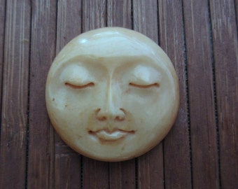 Gorgeous 25 mm Moon Face Cabochon with closed eye Cabochon,age bone, buffalo  bone carving, cabochon for setting S5461