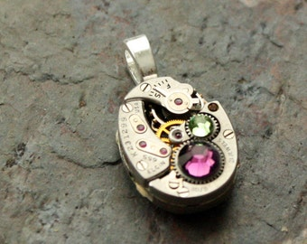 Steampunk Watch Pendant, Recycled Vintage Watch Movement Silver With Purple & Green Swarovski Crystal Steampunk Necklace Sterling Silver