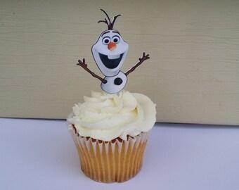 12 Frozen snowmen Olaf cupcake toppers