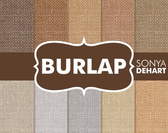 "70% OFF SALE Burlap Digital Paper ""Burlap Paper"" Linen Jute Fabric Textures Scrapbooking Cards"