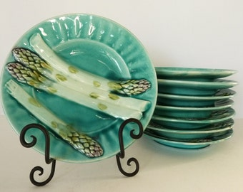 French Barbotine Asparagus Plate...Listing is for ONE plate.