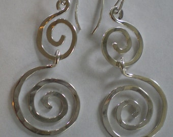Handmade Sterling Silver Double Spiral Earrings