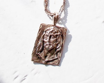 "Vintage Sterling Necklace Jesus Head Woven 11"" Chain 1980's FREE US SHIPPING"