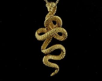 Gold Kundalini Serpent Necklace, Yellow Gold Snake Pendant, Animal Necklace, Kundalini Energy, Diamond Serpent, Hand Carved Yogic Tradition