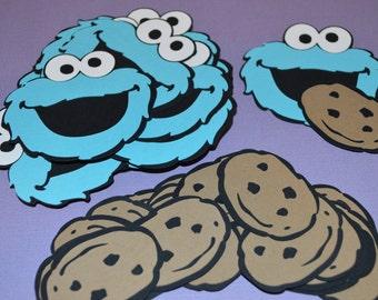 """Cookie Monster Die Cuts (24) 3"""" with Cookies (24) 2"""""""