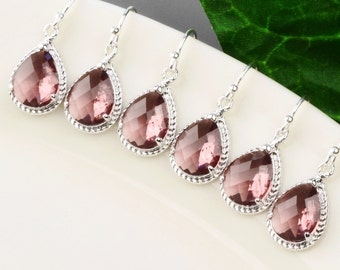 Plum Bridesmaid Earrings SET OF 4 - 8% OFF Silver Eggplant Glass Drop Earrings - Plum Bridesmaid Jewelry - Wedding Jewelry - Bridal Jewelry