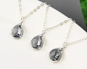 Gray Bridesmaid Jewelry SET OF 7 -15% OFF Charcoal Gray Bridesmaid Necklaces - Silver Gray Pendant Necklace - Wedding Jewelry - Bridal