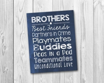 Brothers subway art, Brothers sign, boys room art, printable, instant download