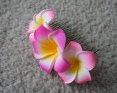 Pink Plumeria Comb Shape Hair Clip (Without Pearls), Tropical Wedding, Beach Wedding, Bridal Hair clip