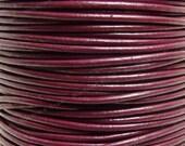 0.5mm Cyclamen Maroon Leather Cord - 3 Yards / 9 Feet / 2.74 Meters