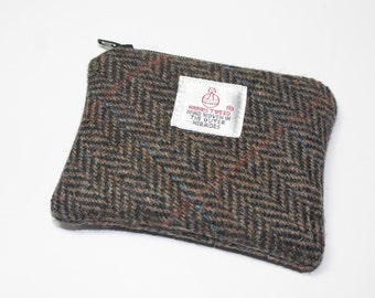 Harris Tweed purse, coin purse, change purse, brown/green Herringbone pattern