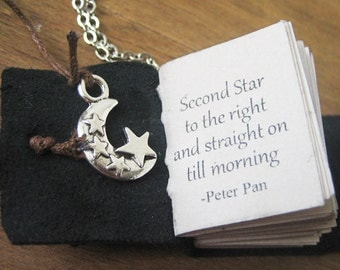 book necklace jewelry quote from peter pan inspirational necklace miniature book handstitched journal charm necklace for women book quote