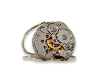 Steampunk Inspired Watch Movement Ladies Wire Ring. Hand Made in Cornwall