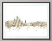 New York City Skyline Sheet Music Cityscape, Art Print (1380)