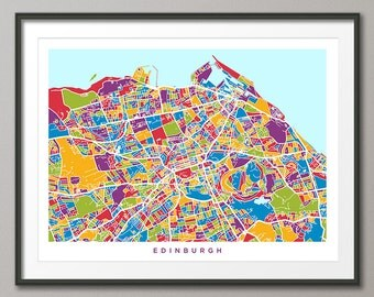 Edinburgh Map, Scotland, Edinburgh City Street Map Art Print (1350)