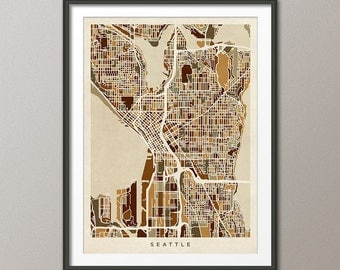 Seattle Map, Seattle Washington City Street Map, Art Print (1352)