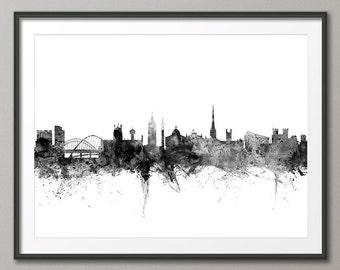 Newcastle Skyline, Newcastle England Cityscape Art Print (1450)