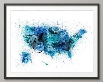 United States Paint Splashes Map USA, Art Print (1519)