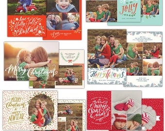Christmas Card Photoshop templates bundle - INSTANT DOWNLOAD - e1123