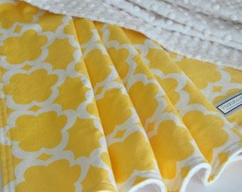 Baby/Toddler Blanket, Tarika in yellow, Gender neutral baby blanket