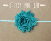 75% Off- Teal Aqua Flower Headband/ Newborn Headband/ Baby Headband/ Photo Prop