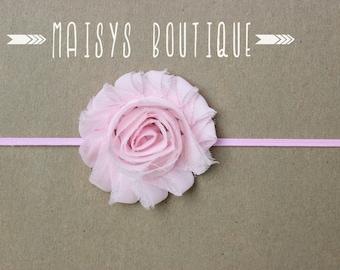 75% Off- Baby Pink Flower Headband/ Newborn Headband/ Baby Headband/ Photo Prop