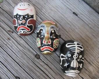 Set of 3 Tiny Vintage Japanese Mask