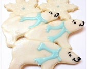 Polar Bear Sugar Cookies Animal Cookies White Bear Iced Decorated Cookies