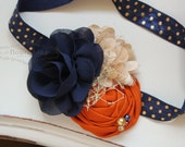 Navy, Tan and Orange headband, navy headbands, newborn headbands, fall  headbands, photography prop, navy and orange headbands