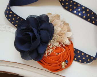 Navy, Tan and Orange headband, navy headbands, newborn headbands, fall  headbands, photography prop, navy and orange headbands