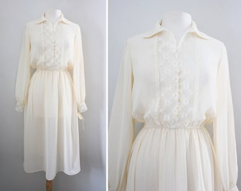 Vintage 70s Boho Chic Cream Off White Lace Sheer Pinstripe Dress - Flirty Shirt Dress - Size Small to Medium