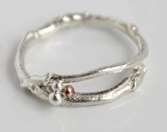 Silver Woodland Twig Ring