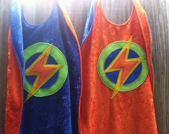 Twin Set of 2 Super Hero Capes ORANGE and BLUE - Kid's Super Hero Capes, Twin Capes, Kid Costume