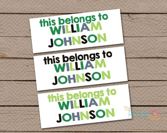 Personalized Waterproof Label Stickers - Boy - This Belongs to - Perfect for Bottles, Sippy Cups, Daycare, School - Dishwasher Safe