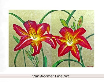 "Two 18"" x 24"" ART PRINTS- Crimson Sisters- Giclee PRINTS of acrylic floral paintings"
