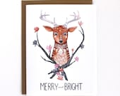 Holiday Card - Christmas Card - Merry and Bright Card - Reindeer Card