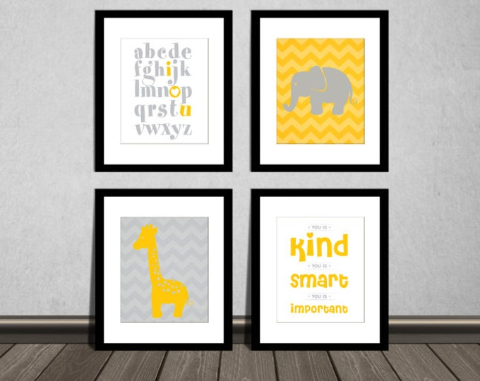 The Help Movie, You is kind, You is smart, You is Important, ABC alphabet, Elephant and Giraffe. Yellow and Gray. DIY Printable.