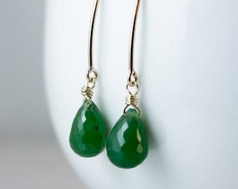 Emerald Green Faceted Nephrite Jade Earrings - Sterling Silver- 14kt Gold Fill - Simple Earrings