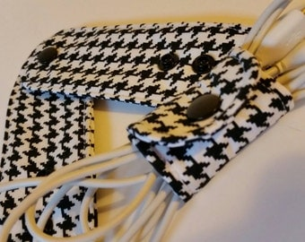 Set of 3 Adjustable Cord Wraps, Electronic Cord Wrappers, Cord Organizer, Cord Keeper-  Houndstooth Custom Made